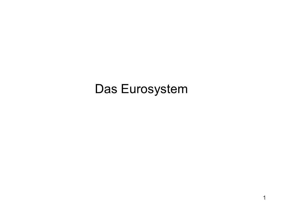 """2 Das Europäische System der Zentralbanken (ESZB) besteht aus der neuen, eigens geschaffenen Europäischen Zentralbank (EZB) und den Nationalen Zentralbanken (NZB) aller EU Mitgliedstaaten Da nicht alle EU-Länder an der Währungsunion teilnahmen wurde ein unterschiedlicher Begriff, das """"Eurosystem geprägt um sich auf die EZB und die teilnehmenden NZBs zu beziehen Das Eurosystem führt die Geldpolitik der Eurozone durch"""