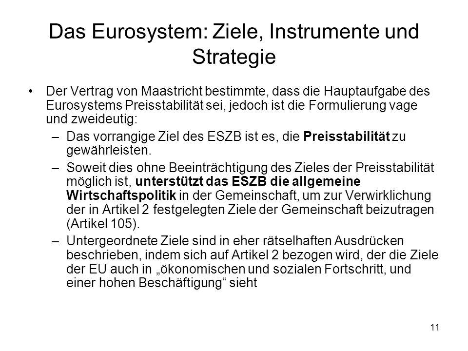 11 Das Eurosystem: Ziele, Instrumente und Strategie Der Vertrag von Maastricht bestimmte, dass die Hauptaufgabe des Eurosystems Preisstabilität sei, j