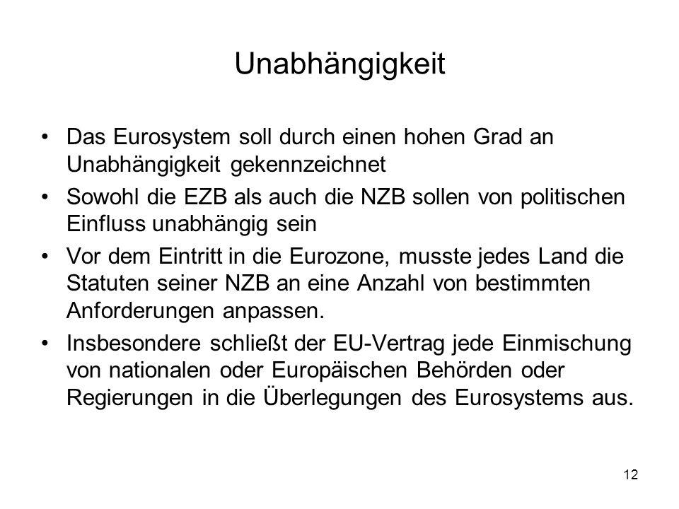 12 Unabhängigkeit Das Eurosystem soll durch einen hohen Grad an Unabhängigkeit gekennzeichnet Sowohl die EZB als auch die NZB sollen von politischen E