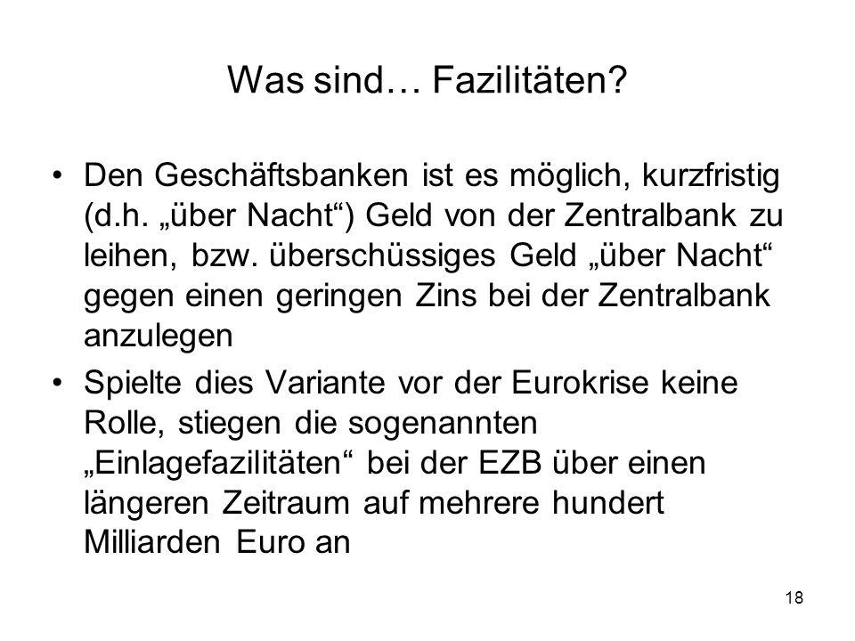 """18 Was sind… Fazilitäten? Den Geschäftsbanken ist es möglich, kurzfristig (d.h. """"über Nacht"""") Geld von der Zentralbank zu leihen, bzw. überschüssiges"""