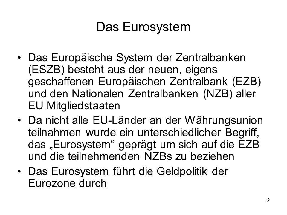 3 Das Eurosystem Die EZB wird von einem EZB-Direktorium geleitet, der aus sechs Mitgliedern besteht Diese Mitglieder werden von den Regierungschefs der EURO- Mitgliedsländer und dem Rat der EZB ernannt Der EZB-Rat besteht aus den sechs Mitgliedern des Direktoriums und den Präsidenten der NZBs der EURO-Mitgliedsländer Der EZB-Rat hat die entscheidende Macht über die Geldpolitik