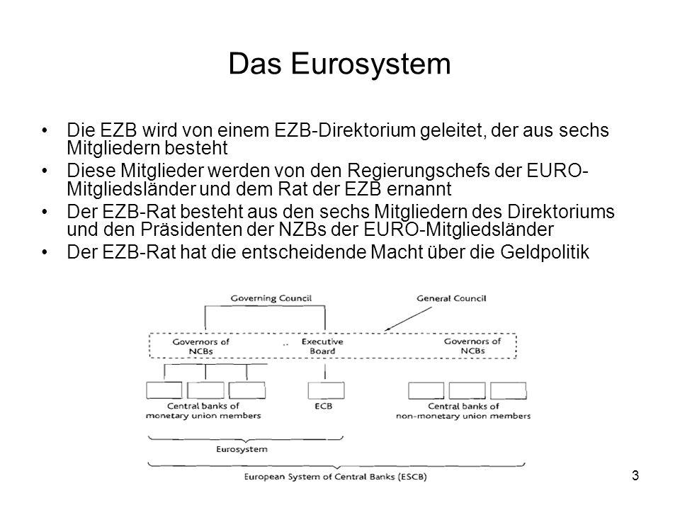 3 Das Eurosystem Die EZB wird von einem EZB-Direktorium geleitet, der aus sechs Mitgliedern besteht Diese Mitglieder werden von den Regierungschefs de