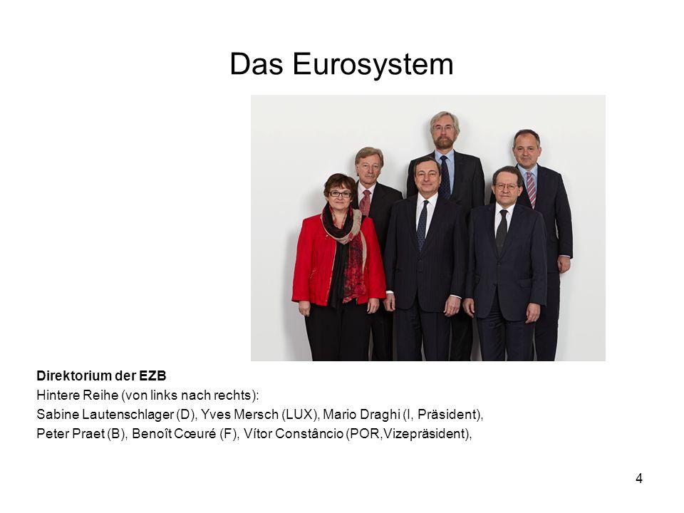 4 Direktorium der EZB Hintere Reihe (von links nach rechts): Sabine Lautenschlager (D), Yves Mersch (LUX), Mario Draghi (I, Präsident), Peter Praet (B