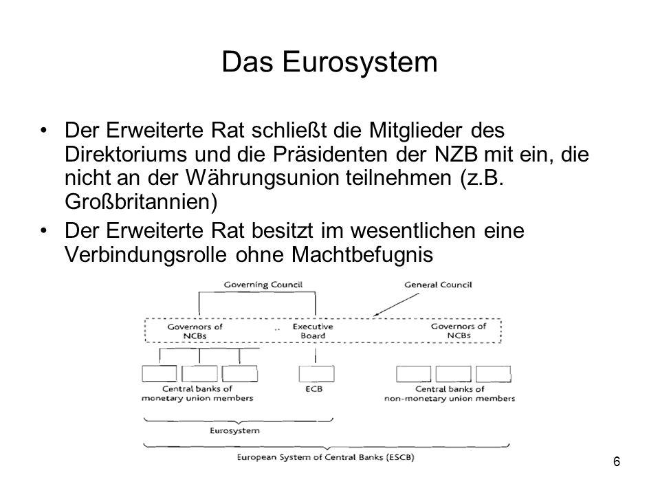6 Das Eurosystem Der Erweiterte Rat schließt die Mitglieder des Direktoriums und die Präsidenten der NZB mit ein, die nicht an der Währungsunion teiln