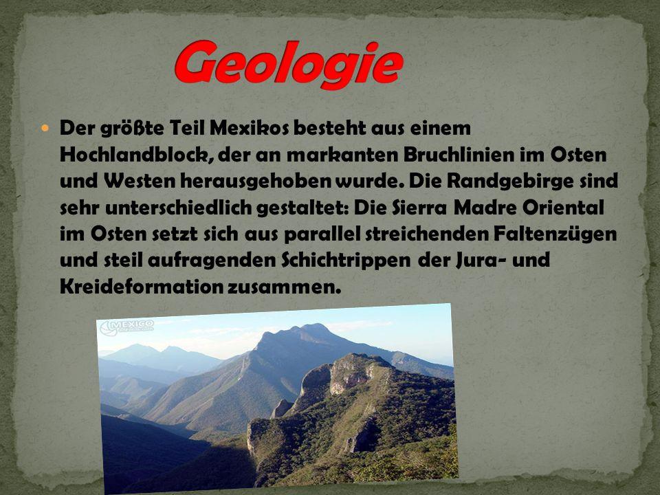 Die höchsten Erhebungen des Landes findet man am Transmexikanischen Vulkangürtel, auch Sierra Nevada genannt: der Citlaltépetl (5636 m), auch als Pico de Orizaba bezeichnet, der höchste Berg in Mexiko, der derzeit aktive Popocatépetl (5462 m), der Iztaccíhuatl (5286 m) und der Nevado de Toluca (4980 m).Ausserdem birgt Mexiko eine grosse Vielfalt an Vulkanen.