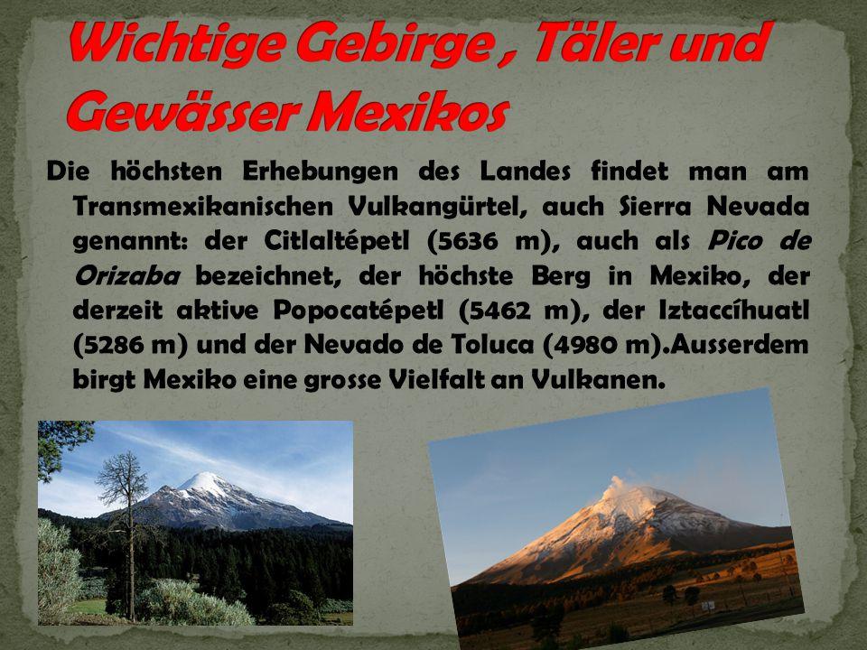 Die höchsten Erhebungen des Landes findet man am Transmexikanischen Vulkangürtel, auch Sierra Nevada genannt: der Citlaltépetl (5636 m), auch als Pico