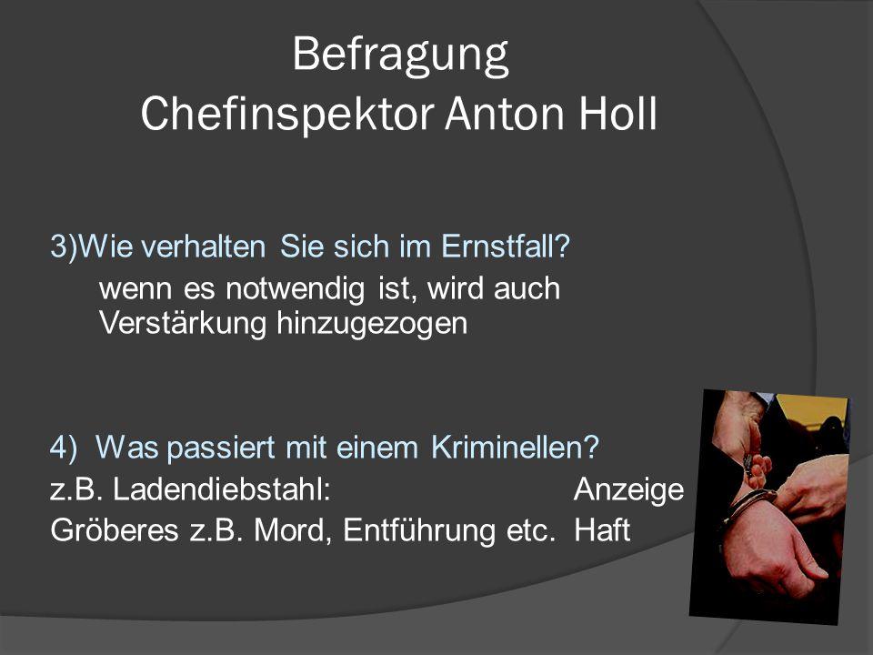 Befragung Chefinspektor Anton Holl 3)Wie verhalten Sie sich im Ernstfall? wenn es notwendig ist, wird auch Verstärkung hinzugezogen 4) Was passiert mi