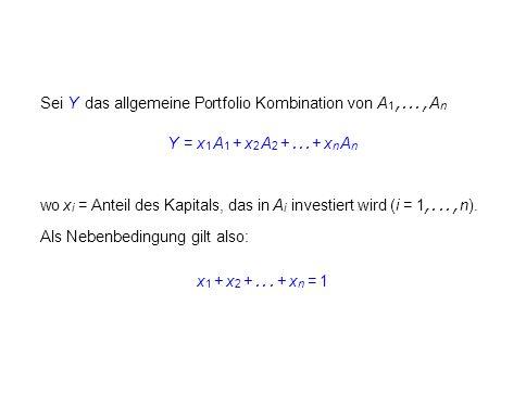 Sei Y das allgemeine Portfolio Kombination von A 1,..., A n Y = x 1 A 1 + x 2 A 2 +... + x n A n wo x i = Anteil des Kapitals, das in A i investiert w