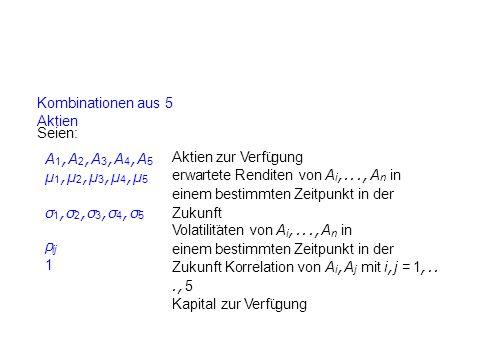 Kombinationen aus 5 Aktien Seien: A 1, A 2, A 3, A 4, A 5 µ 1, µ 2, µ 3, µ 4, µ 5 Aktien zur Verfu ¨ gung erwartete Renditen von A i,..., A n in einem