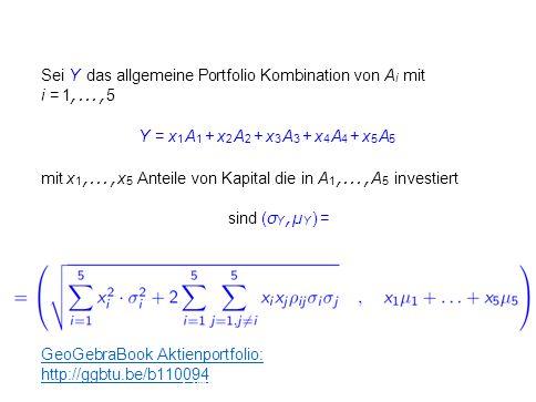 Sei Y das allgemeine Portfolio Kombination von A i mit i = 1,..., 5 Y = x 1 A 1 + x 2 A 2 + x 3 A 3 + x 4 A 4 + x 5 A 5 mit x 1,..., x 5 Anteile von K