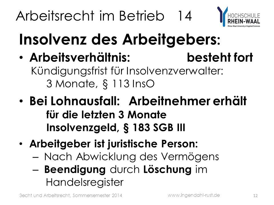 Arbeitsrecht im Betrieb 14 Insolvenz des Arbeitgebers : Arbeitsverhältnis: besteht fort Kündigungsfrist für Insolvenzverwalter: 3 Monate, § 113 InsO B