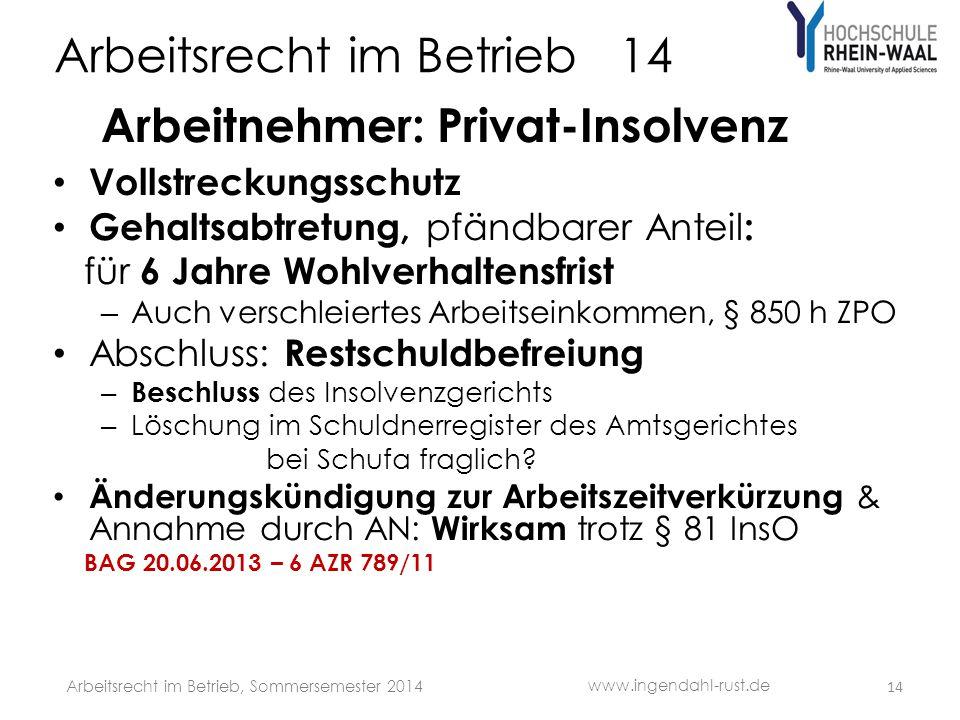 Arbeitsrecht im Betrieb 14 Arbeitnehmer: Privat-Insolvenz Vollstreckungsschutz Gehaltsabtretung, pfändbarer Anteil : für 6 Jahre Wohlverhaltensfrist –