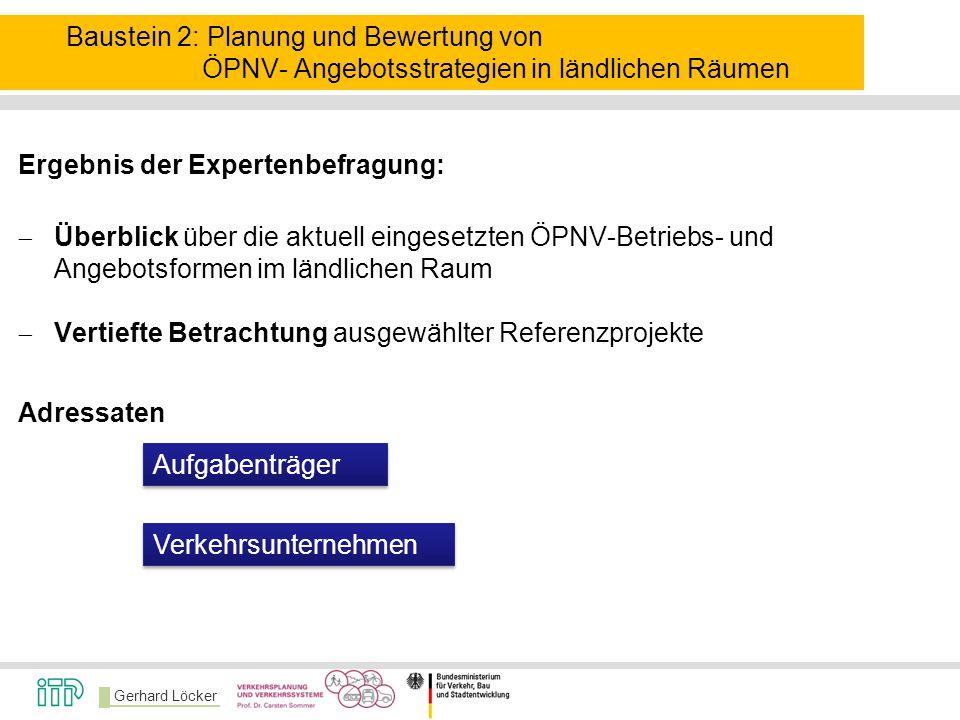 Gerhard Löcker Baustein 2: Planung und Bewertung von ÖPNV- Angebotsstrategien in ländlichen Räumen Ergebnis der Expertenbefragung:  Überblick über di