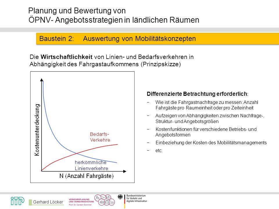 Gerhard Löcker Planung und Bewertung von ÖPNV- Angebotsstrategien in ländlichen Räumen Baustein 2:Auswertung von Mobilitätskonzepten Die Wirtschaftlic