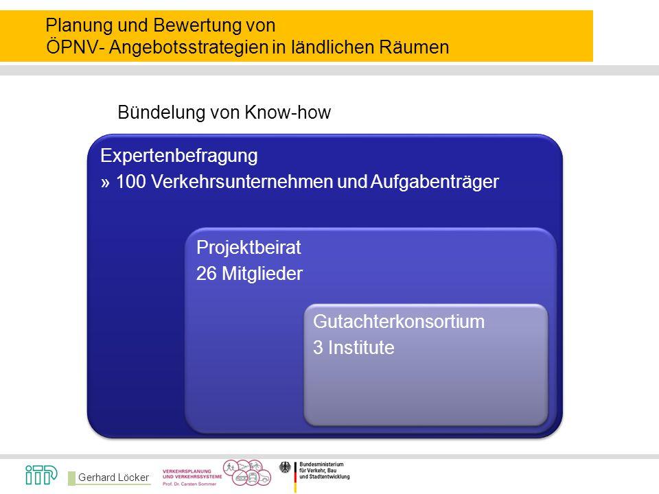 Gerhard Löcker Expertenbefragung » 100 Verkehrsunternehmen und Aufgabenträger Projektbeirat 26 Mitglieder Gutachterkonsortium 3 Institute Planung und