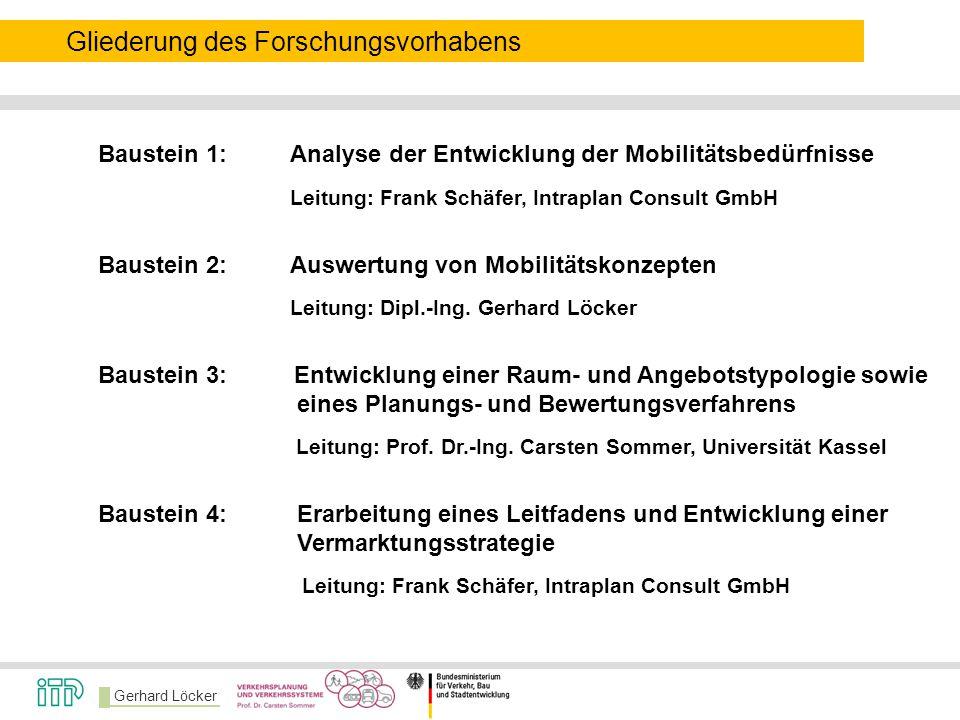 Gerhard Löcker Gliederung des Forschungsvorhabens Baustein 1:Analyse der Entwicklung der Mobilitätsbedürfnisse Leitung: Frank Schäfer, Intraplan Consu