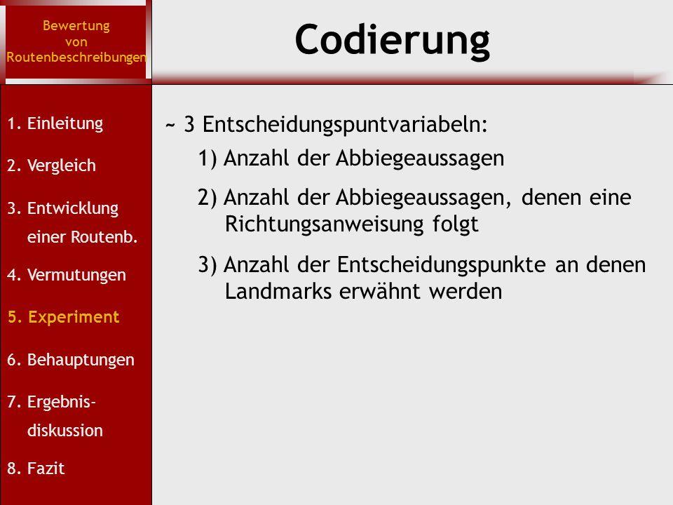 Codierung Bewertung von Routenbeschreibungen 1. Einleitung 2. Vergleich 3. Entwicklung einer Routenb. 4. Vermutungen 5. Experiment 6. Behauptungen 7.