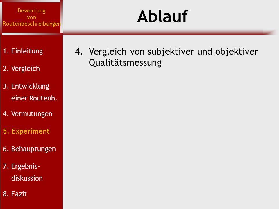 Bewertung von Routenbeschreibungen 1. Einleitung 2. Vergleich 3. Entwicklung einer Routenb. 4. Vermutungen 5. Experiment 6. Behauptungen 7. Ergebnis-