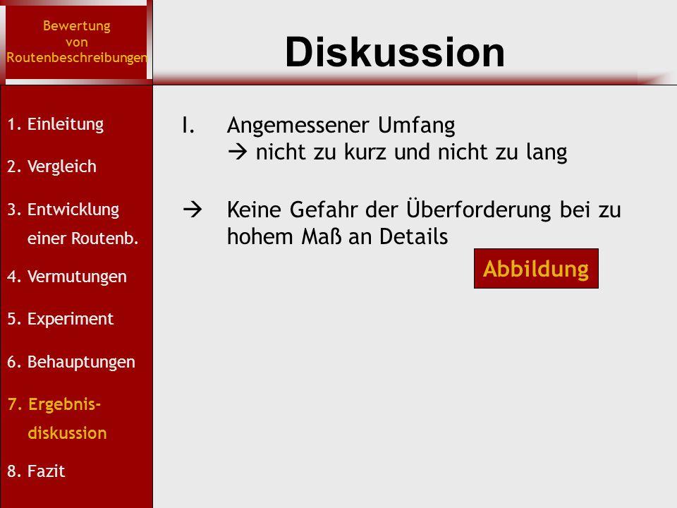 Diskussion Bewertung von Routenbeschreibungen 1. Einleitung 2.