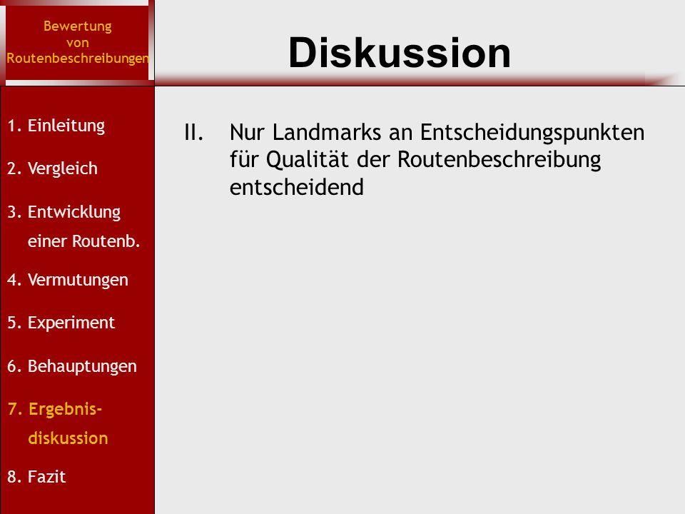 Diskussion Bewertung von Routenbeschreibungen 1. Einleitung 2. Vergleich 3. Entwicklung einer Routenb. 4. Vermutungen 5. Experiment 6. Behauptungen 7.