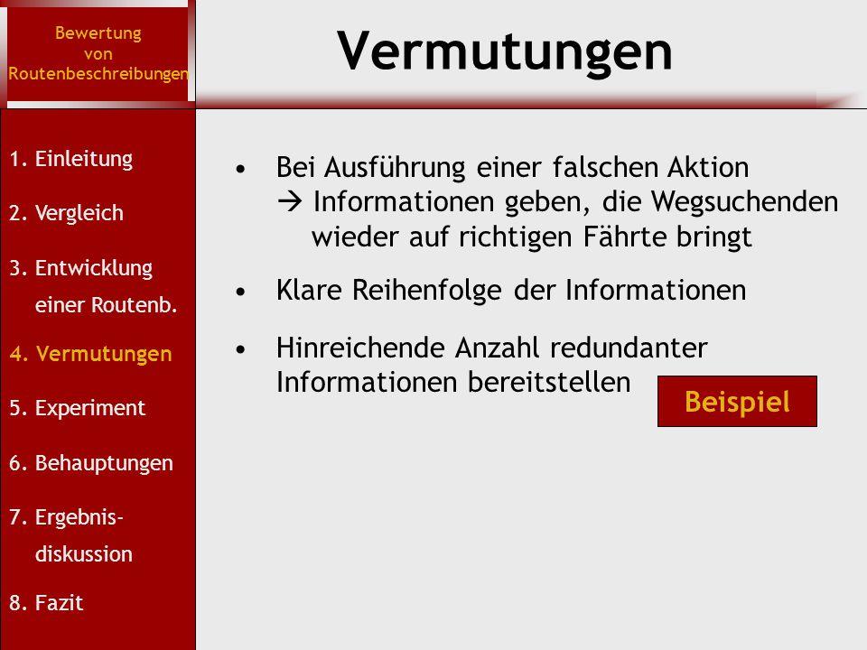 Vermutungen Bewertung von Routenbeschreibungen Bei Ausführung einer falschen Aktion  Informationen geben, die Wegsuchenden wieder auf richtigen Fährt