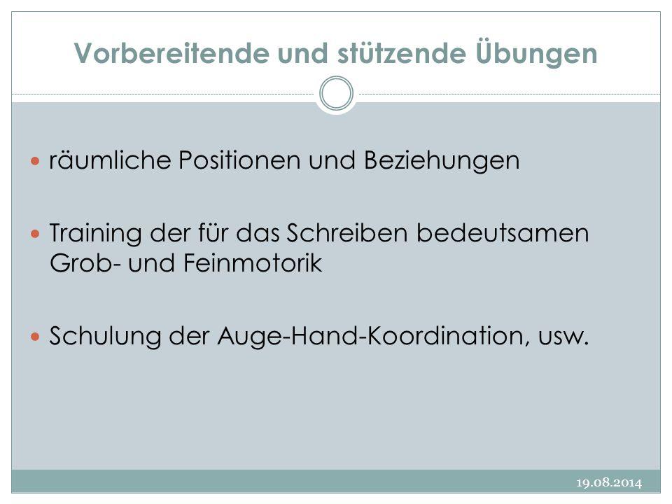 Vorbereitende und stützende Übungen 19.08.2014 räumliche Positionen und Beziehungen Training der für das Schreiben bedeutsamen Grob- und Feinmotorik Schulung der Auge-Hand-Koordination, usw.