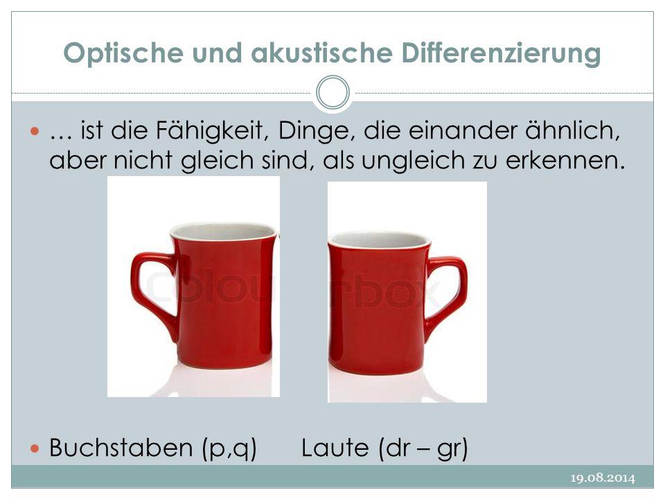 Optische und akustische Differenzierung 19.08.2014 … ist die Fähigkeit, Dinge, die einander ähnlich, aber nicht gleich sind, als ungleich zu erkennen.