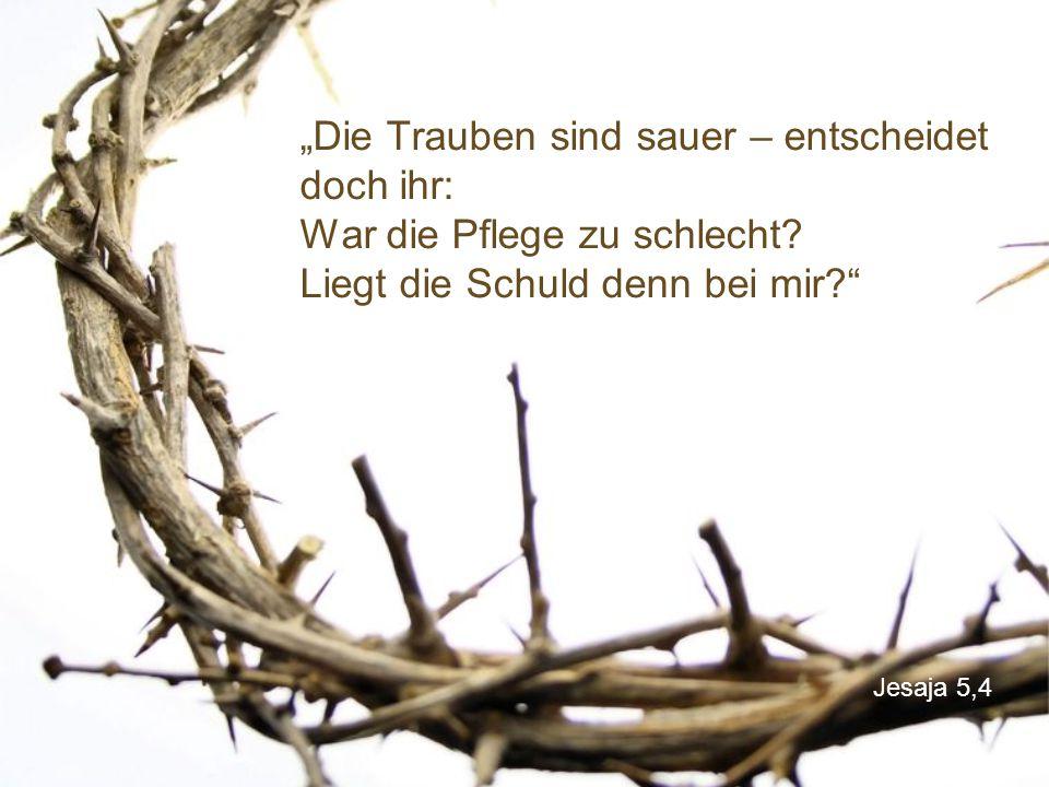 """Jesaja 5,4 """"Die Trauben sind sauer – entscheidet doch ihr: War die Pflege zu schlecht."""