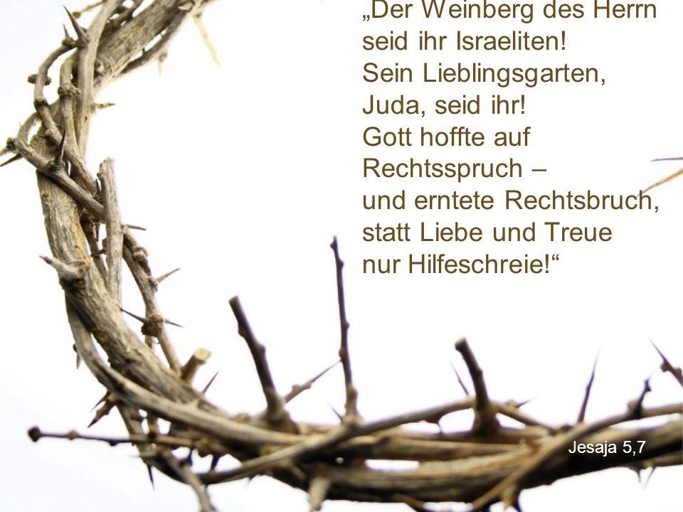 """Jesaja 5,7 """"Der Weinberg des Herrn seid ihr Israeliten! Sein Lieblingsgarten, Juda, seid ihr! Gott hoffte auf Rechtsspruch – und erntete Rechtsbruch,"""
