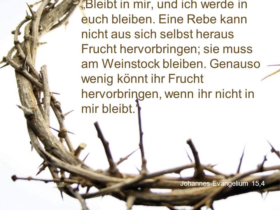 """Johannes-Evangelium 15,4 """"Bleibt in mir, und ich werde in euch bleiben."""