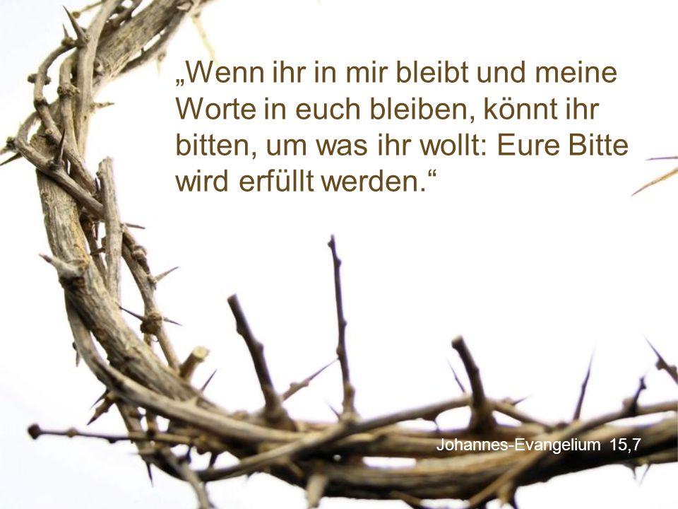"""Johannes-Evangelium 15,7 """"Wenn ihr in mir bleibt und meine Worte in euch bleiben, könnt ihr bitten, um was ihr wollt: Eure Bitte wird erfüllt werden."""""""