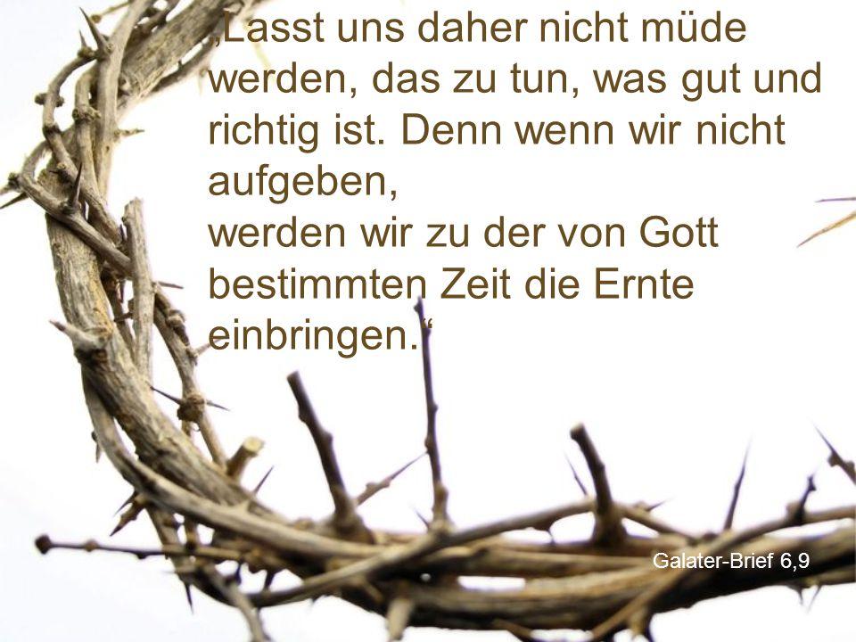 """Galater-Brief 6,9 """"Lasst uns daher nicht müde werden, das zu tun, was gut und richtig ist. Denn wenn wir nicht aufgeben, werden wir zu der von Gott be"""