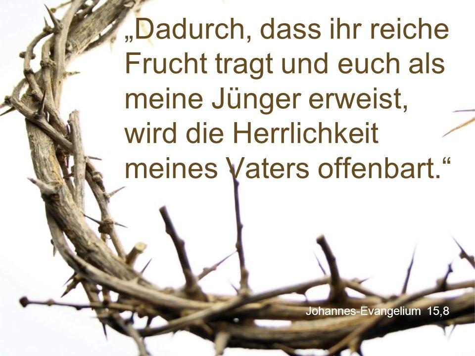 """Johannes-Evangelium 15,8 """"Dadurch, dass ihr reiche Frucht tragt und euch als meine Jünger erweist, wird die Herrlichkeit meines Vaters offenbart."""