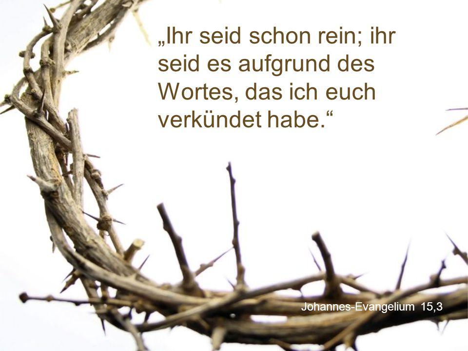 """Johannes-Evangelium 15,3 """"Ihr seid schon rein; ihr seid es aufgrund des Wortes, das ich euch verkündet habe."""""""