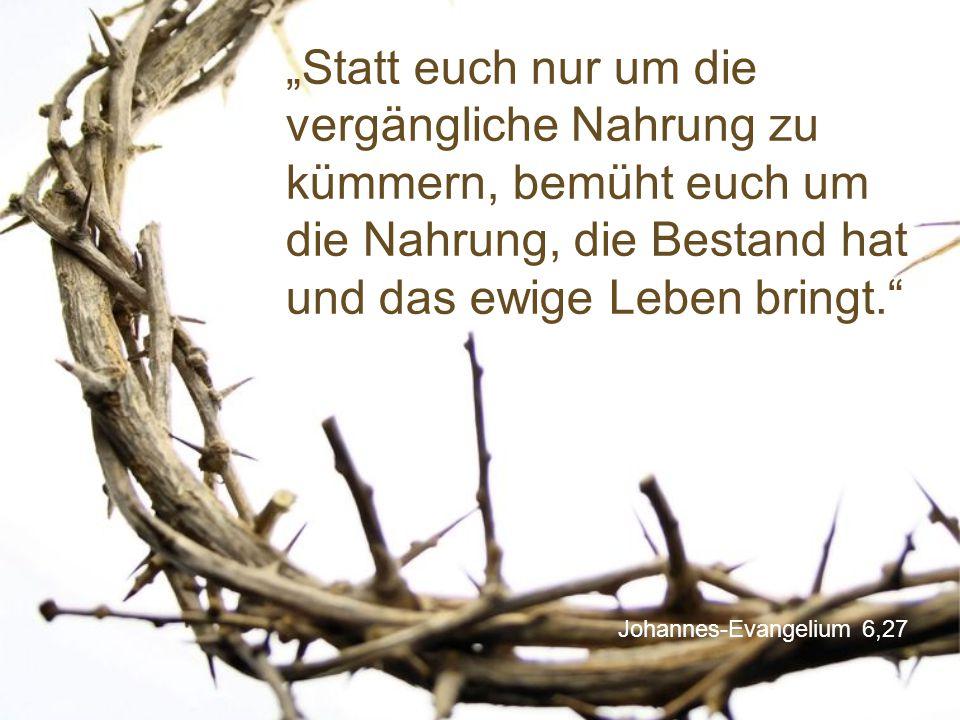 """Johannes-Evangelium 6,27 """"Statt euch nur um die vergängliche Nahrung zu kümmern, bemüht euch um die Nahrung, die Bestand hat und das ewige Leben bringt."""