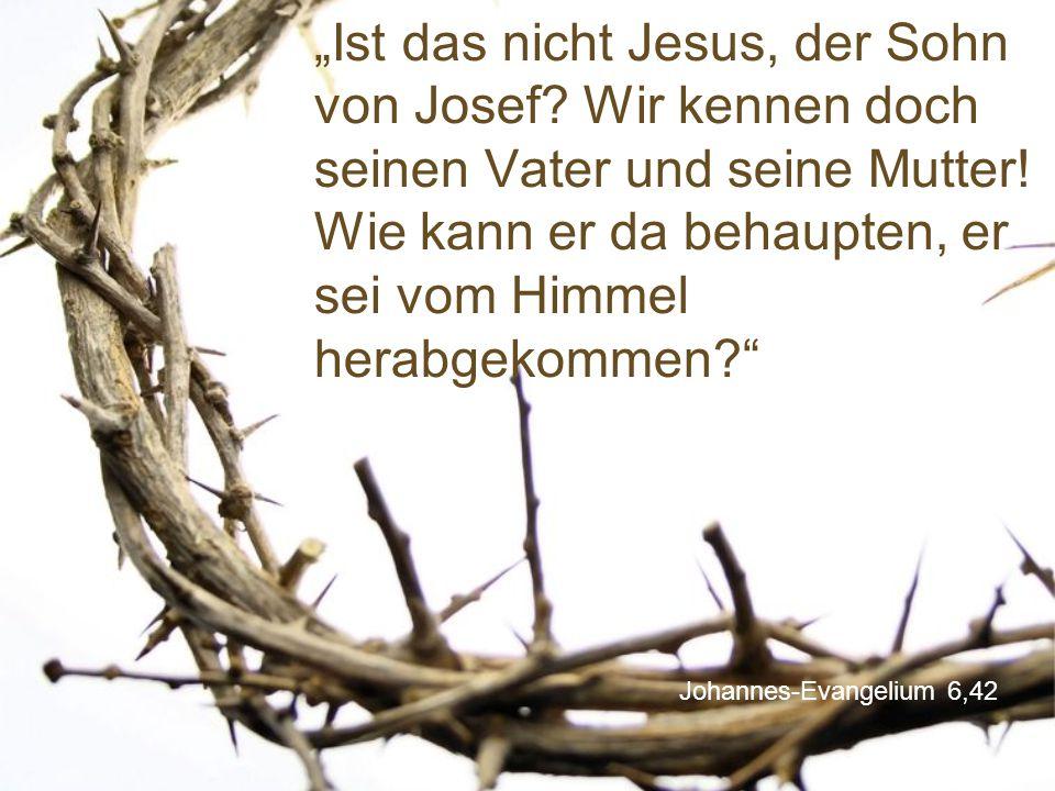 """Johannes-Evangelium 6,42 """"Ist das nicht Jesus, der Sohn von Josef? Wir kennen doch seinen Vater und seine Mutter! Wie kann er da behaupten, er sei vom"""