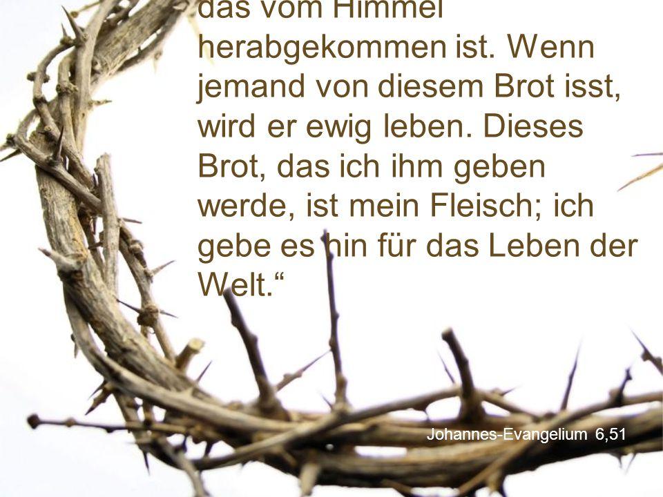 """Johannes-Evangelium 6,51 """"Ich bin das lebendige Brot, das vom Himmel herabgekommen ist. Wenn jemand von diesem Brot isst, wird er ewig leben. Dieses B"""