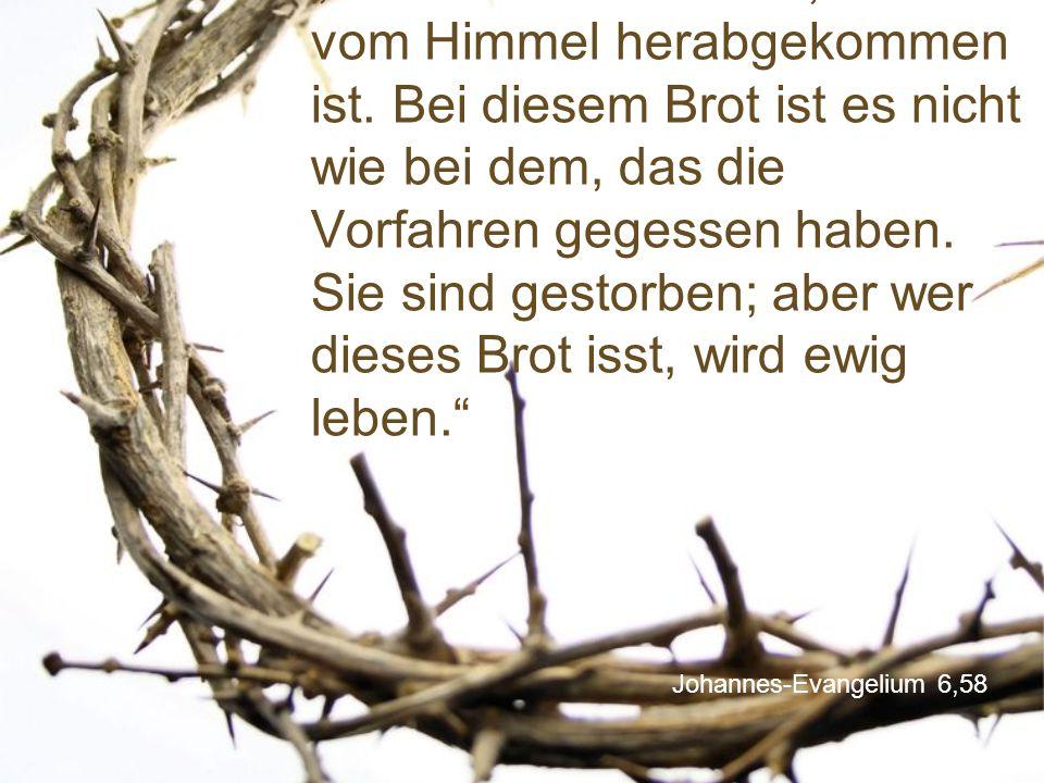 """Johannes-Evangelium 6,58 """"Das ist also das Brot, das vom Himmel herabgekommen ist. Bei diesem Brot ist es nicht wie bei dem, das die Vorfahren gegesse"""