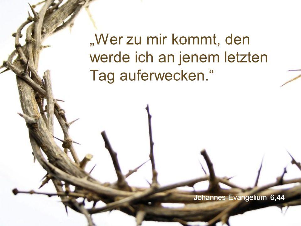 """Johannes-Evangelium 6,44 """"Wer zu mir kommt, den werde ich an jenem letzten Tag auferwecken."""