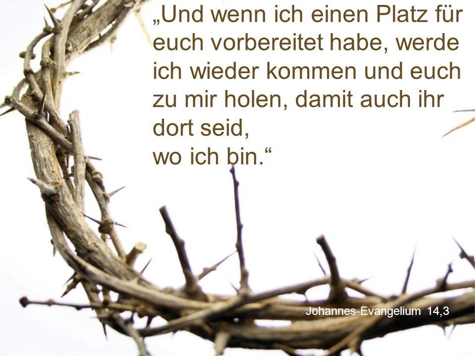 """Johannes-Evangelium 14,3 """"Und wenn ich einen Platz für euch vorbereitet habe, werde ich wieder kommen und euch zu mir holen, damit auch ihr dort seid,"""
