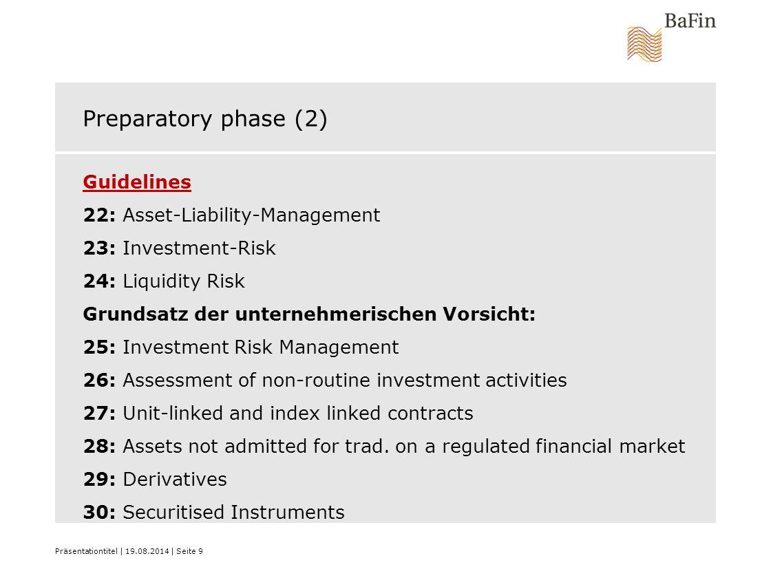 Preparatory phase (2) Guidelines 22: Asset-Liability-Management 23: Investment-Risk 24: Liquidity Risk Grundsatz der unternehmerischen Vorsicht: 25: I