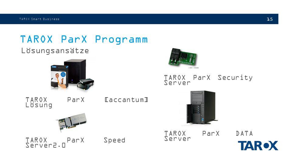 15 TAROX ParX Programm Lösungsansätze TAROX Smart Business TAROX ParX Security Server TAROX ParX [accantum] Lösung TAROX ParX Speed Server2.0 TAROX ParX DATA Server