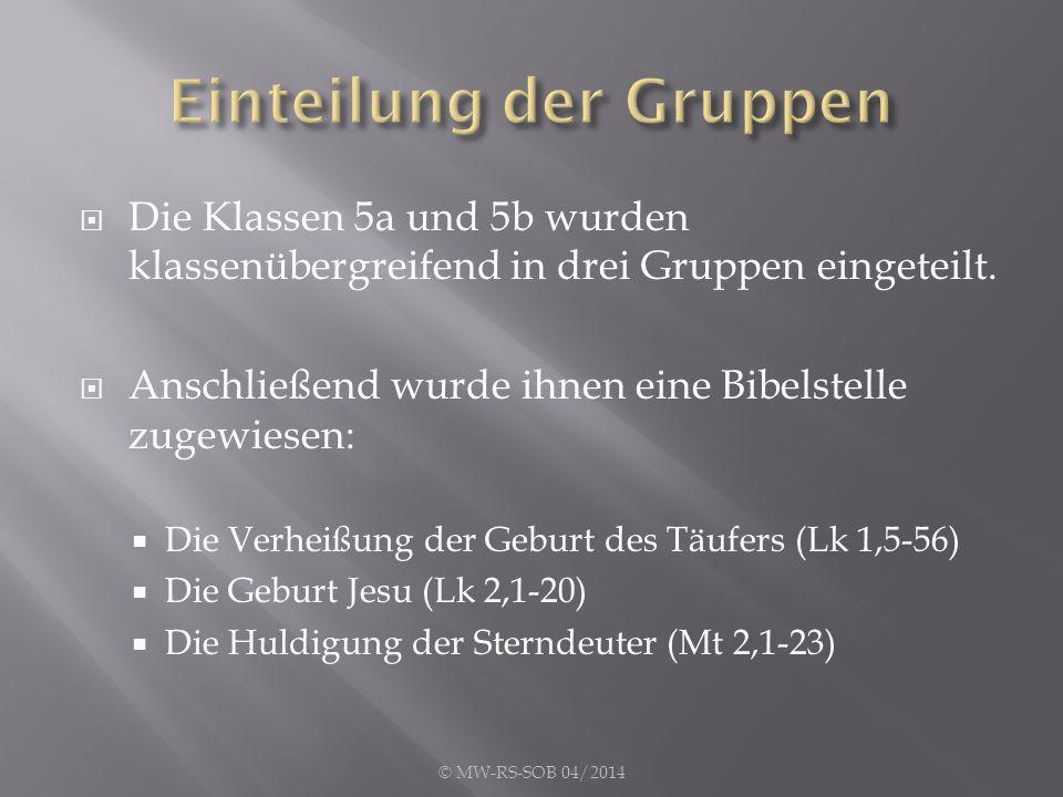  Die Klassen 5a und 5b wurden klassenübergreifend in drei Gruppen eingeteilt.  Anschließend wurde ihnen eine Bibelstelle zugewiesen:  Die Verheißun