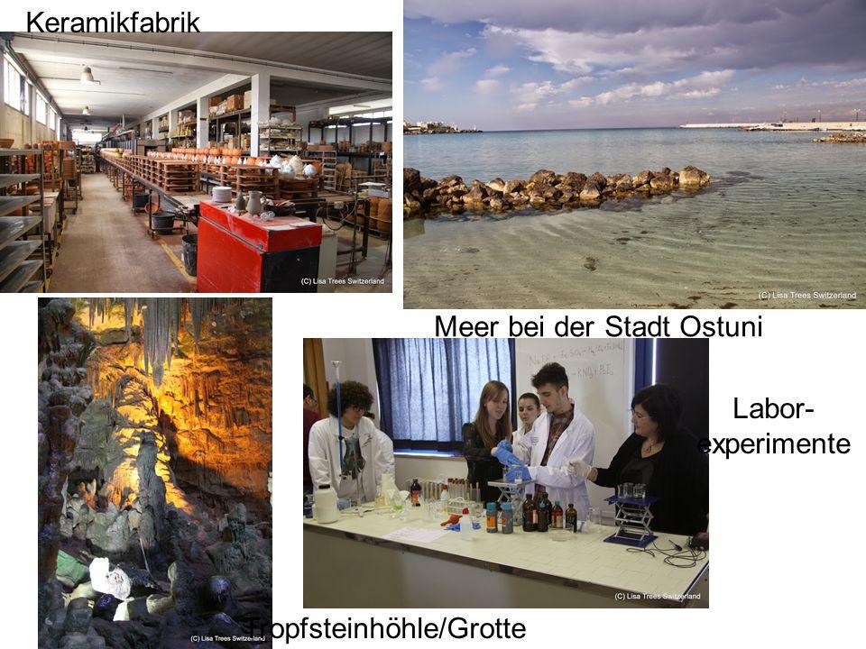 Meer bei der Stadt Ostuni Keramikfabrik Tropfsteinhöhle/Grotte Labor- experimente