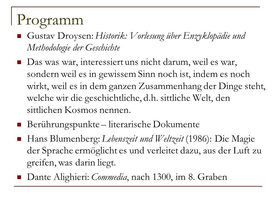Programm Gustav Droysen: Historik: Vorlesung über Enzyklopädie und Methodologie der Geschichte Das was war, interessiert uns nicht darum, weil es war,