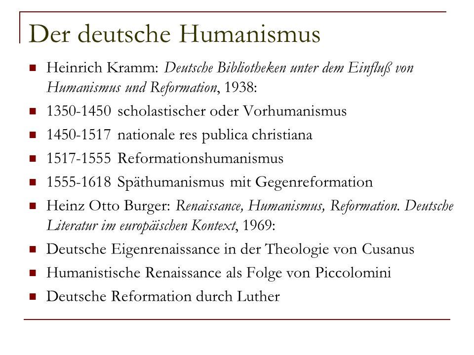 Der deutsche Humanismus Heinrich Kramm: Deutsche Bibliotheken unter dem Einfluß von Humanismus und Reformation, 1938: 1350-1450 scholastischer oder Vo