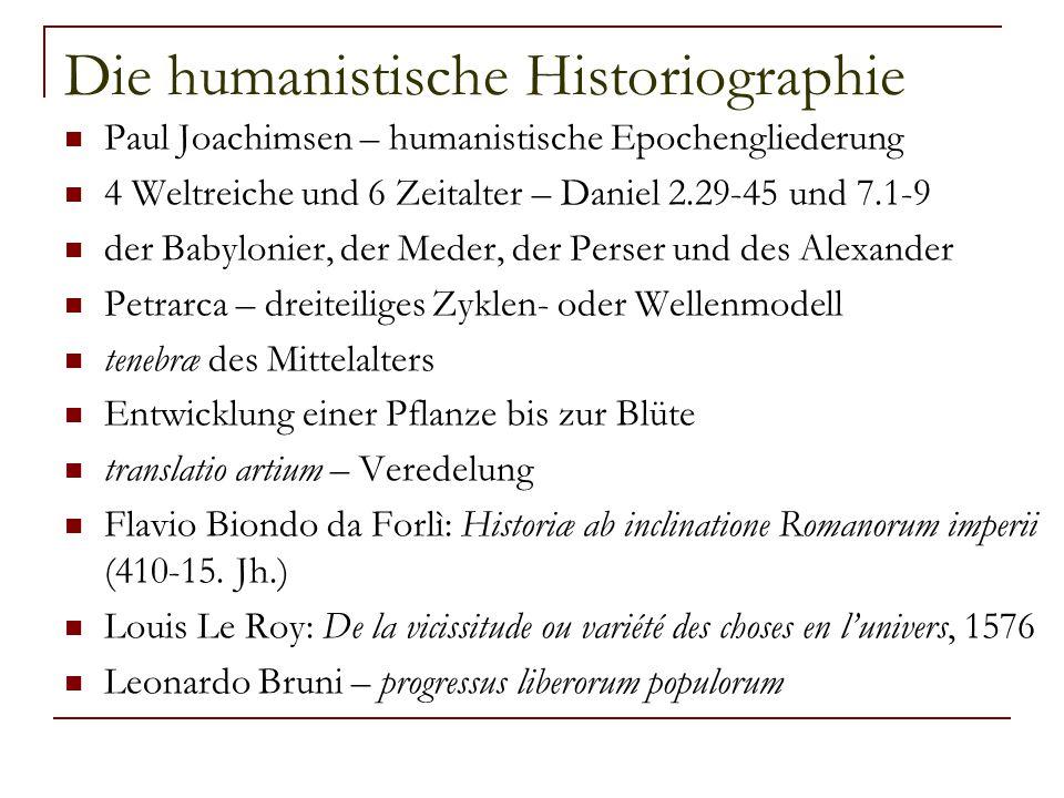 Die humanistische Historiographie Paul Joachimsen – humanistische Epochengliederung 4 Weltreiche und 6 Zeitalter – Daniel 2.29-45 und 7.1-9 der Babylo