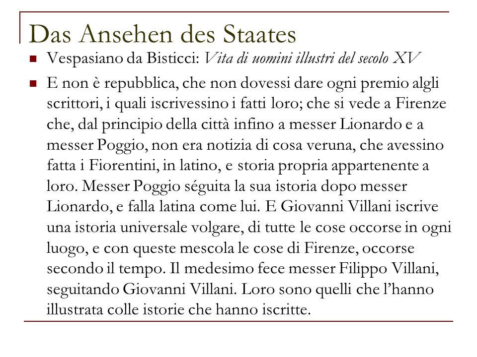 Das Ansehen des Staates Vespasiano da Bisticci: Vita di uomini illustri del secolo XV E non è repubblica, che non dovessi dare ogni premio algli scrit