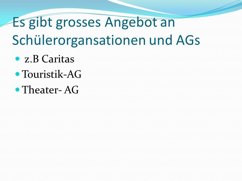 Es gibt grosses Angebot an Schülerorgansationen und AGs z.B Caritas Touristik-AG Theater- AG