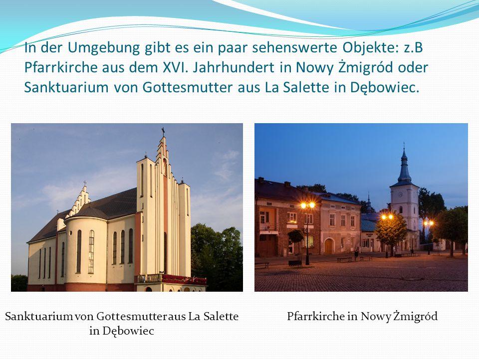 In der Umgebung gibt es ein paar sehenswerte Objekte: z.B Pfarrkirche aus dem XVI. Jahrhundert in Nowy Żmigród oder Sanktuarium von Gottesmutter aus L